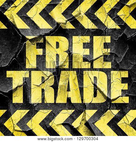 free trade, black and yellow rough hazard stripes