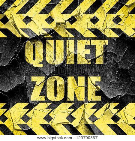 Quiet zone sign, black and yellow rough hazard stripes