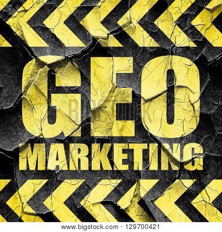 geo marketing, black and yellow rough hazard stripes
