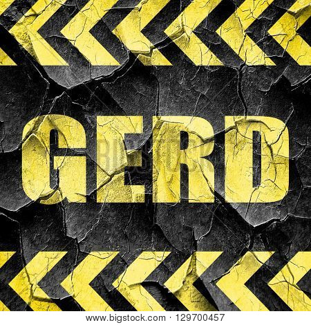 Gerd, black and yellow rough hazard stripes