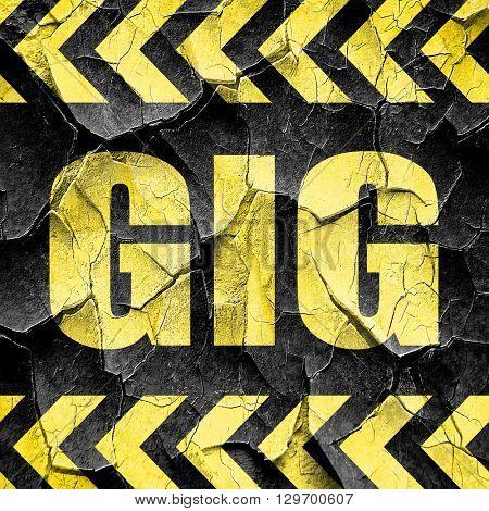 gig, black and yellow rough hazard stripes