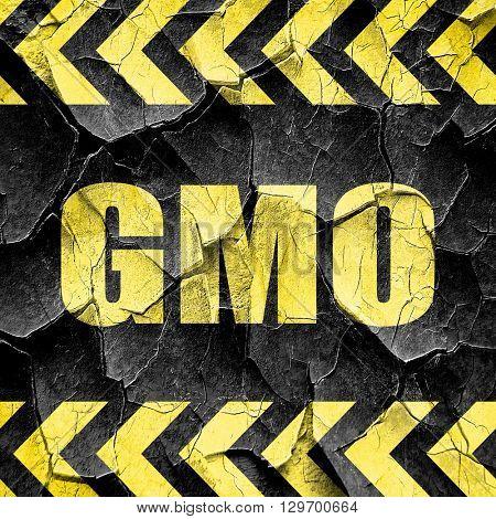 gmo, black and yellow rough hazard stripes