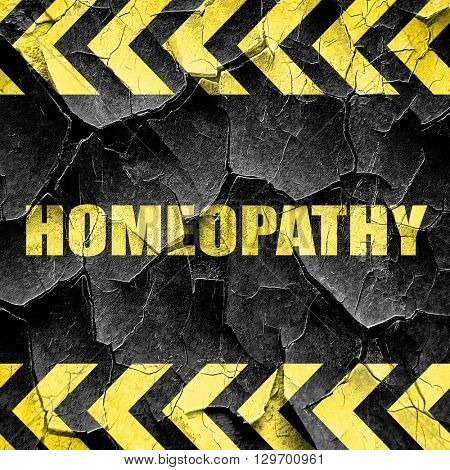 homeopathy, black and yellow rough hazard stripes