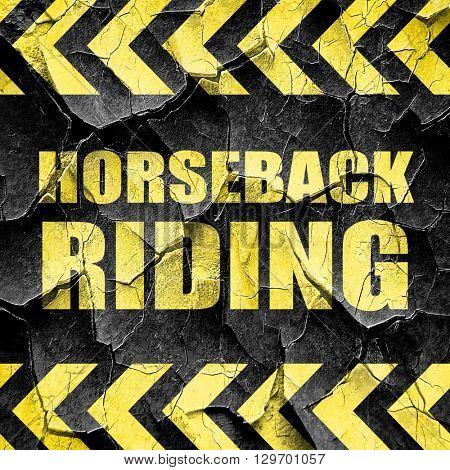 horseback riding, black and yellow rough hazard stripes