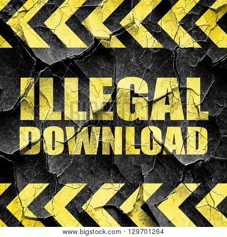illlegal download, black and yellow rough hazard stripes