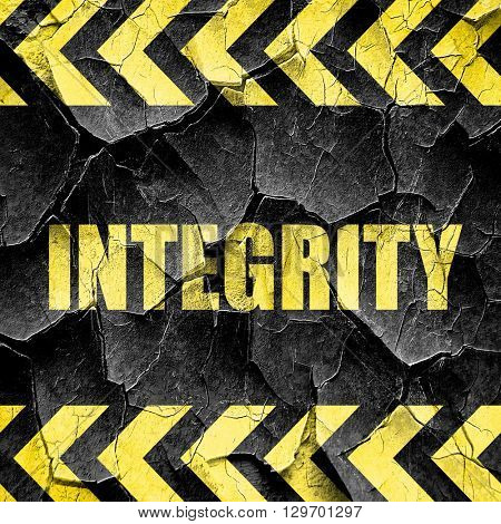 integrity, black and yellow rough hazard stripes