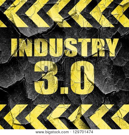 industry 3.0, black and yellow rough hazard stripes