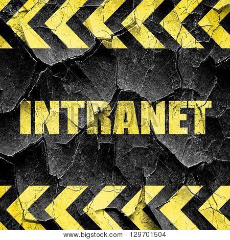 intranet, black and yellow rough hazard stripes