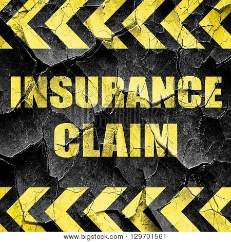 insurance claim, black and yellow rough hazard stripes