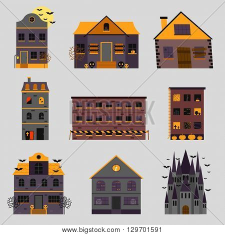 Scary house and horror house vector illustration.