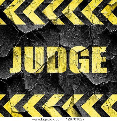 judge, black and yellow rough hazard stripes