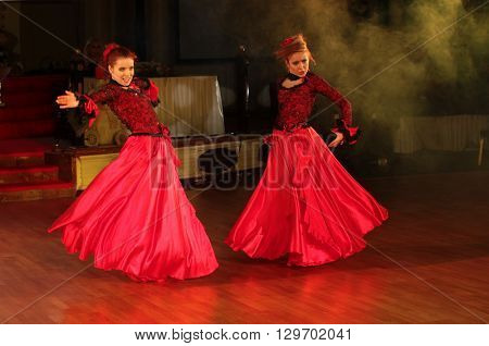 MOSCOW - MARCH 19: Unidentified teens age 10-18 compete at artistic dances at European Artistic Dace Championship, organized by World Dance Artistic Federation on March 19, 2016, in Moscow.