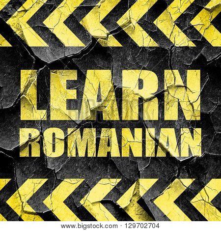 learn romanian, black and yellow rough hazard stripes
