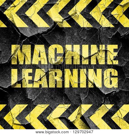 machine learning, black and yellow rough hazard stripes