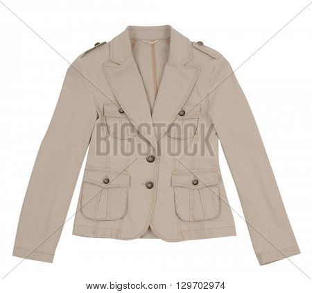 beige jacket isolated on white background