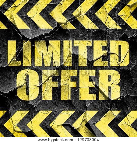 limited offer, black and yellow rough hazard stripes