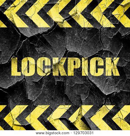 lockpick, black and yellow rough hazard stripes
