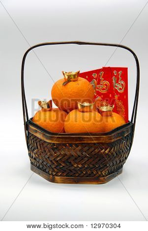 Mandarin oranges and red packet