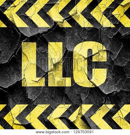 llc, black and yellow rough hazard stripes
