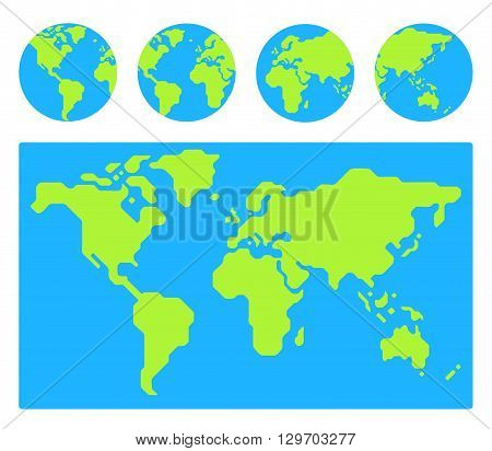 World map with 4 globe icons from different sides. Stylized geometric flat vector.