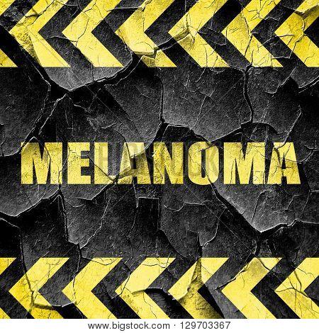 melanoma, black and yellow rough hazard stripes