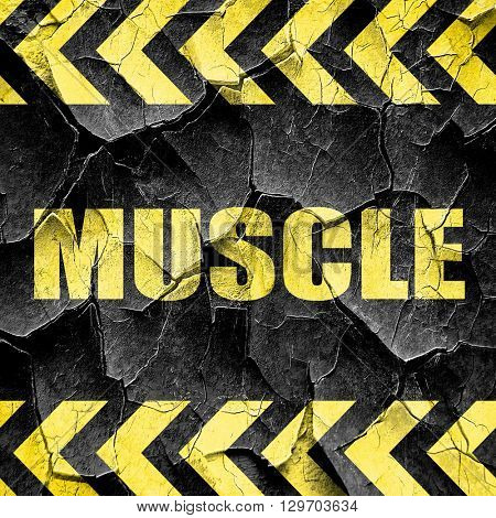 muscle, black and yellow rough hazard stripes