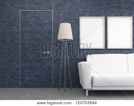 Interior design with two blank picture frames floor lamp sofa and blue wall with barely noticeable door. Mock up 3D Rendering