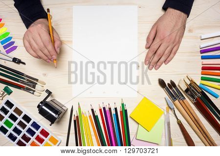 Drawing Tools And Artist's Hands