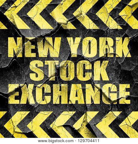 new york stock exchange, black and yellow rough hazard stripes
