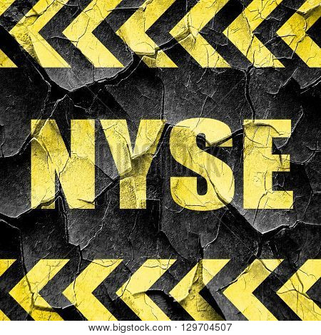 nyse, black and yellow rough hazard stripes
