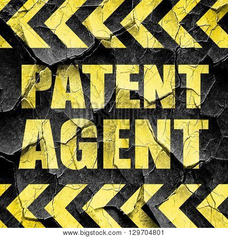 patent agent, black and yellow rough hazard stripes