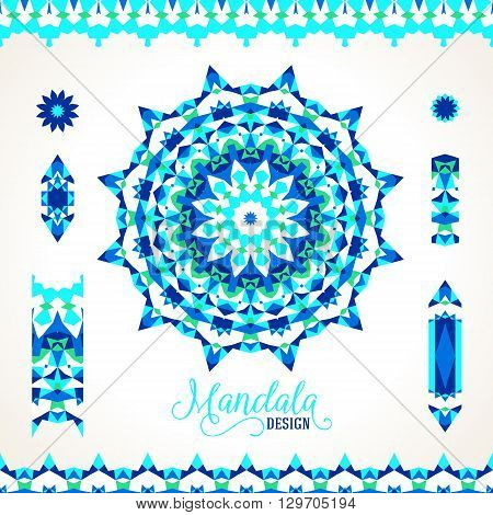 Vector illustration of sun symbol in blue colors stylized in Scandinavian, Nordic, Russian, Slavic motifs. Folk ethnic art elements, abstract flowers, round ornament, borders, lines, pattern brushes
