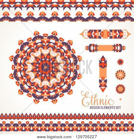 Vector illustration of sun symbol in red colors stylized in Scandinavian, Nordic, Russian, Slavic motifs. Folk ethnic art elements, abstract flowers, round ornament, borders, lines, pattern brushes