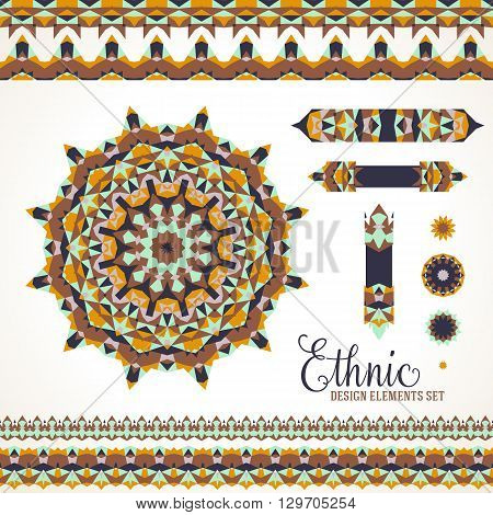 Vector ethnic colorful bohemian round ornament in brown colors with borders. Abstract flower or modern mandala with stars, triangles. Geometric background with Arabic, Indian, Moroccan, Aztec motif