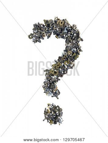 question mark consisting of the numbers, 3d illustration