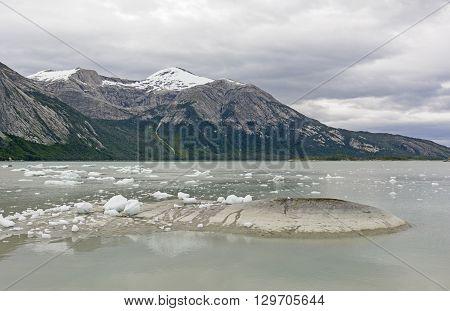 Glacial Bay on a Calm Day near the Pia Glacier in Tierra del Fuego in Patagonia
