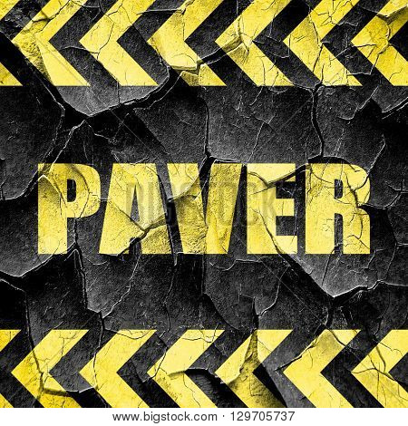 paver, black and yellow rough hazard stripes