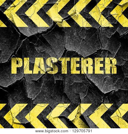 plasterer, black and yellow rough hazard stripes