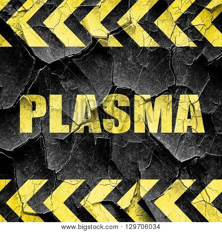 plasma, black and yellow rough hazard stripes