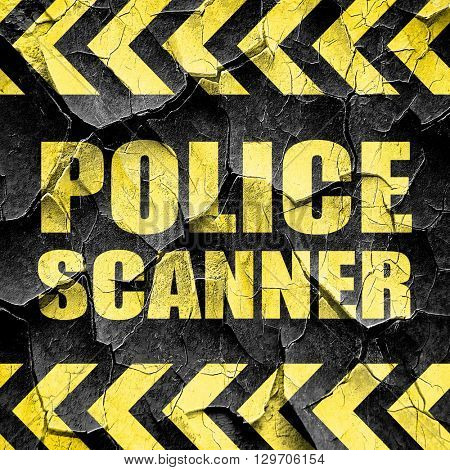 police scanner, black and yellow rough hazard stripes