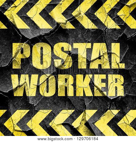 postal worker, black and yellow rough hazard stripes