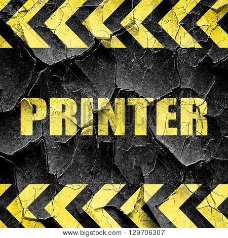 printer, black and yellow rough hazard stripes