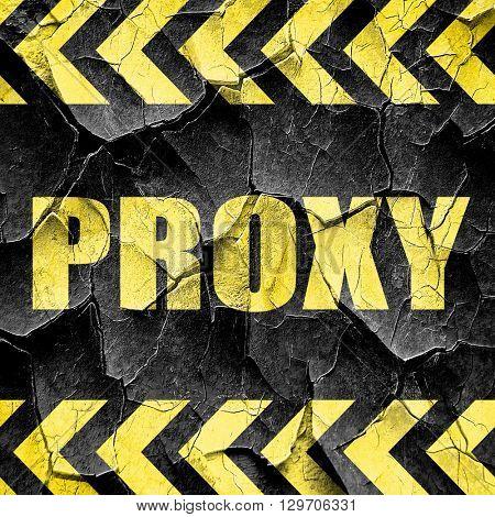 proxy, black and yellow rough hazard stripes