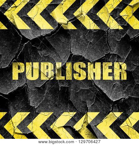 publisher, black and yellow rough hazard stripes
