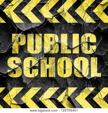 public school, black and yellow rough hazard stripes