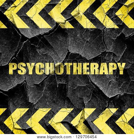 psychotherapy, black and yellow rough hazard stripes