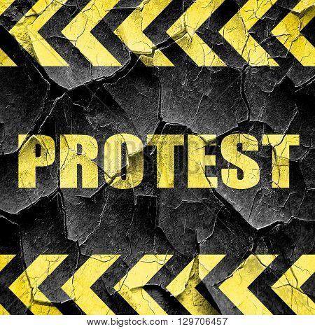 protest, black and yellow rough hazard stripes