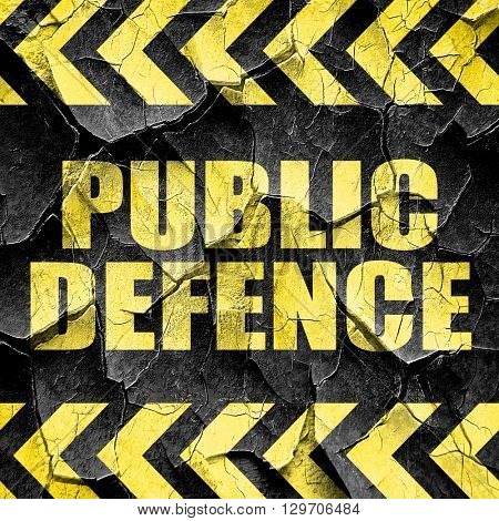 public defence, black and yellow rough hazard stripes