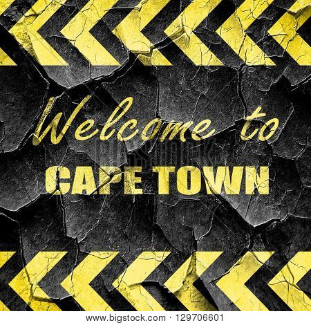 Welcome to cape town, black and yellow rough hazard stripes