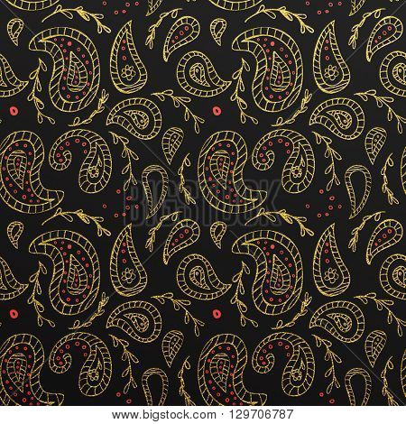 Gold glittering abstract Paisley pattern. Seamless Paisley texture with gold on black background